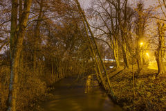 Foto de HDR del parque de la ciudad de Olomouc en invierno sin nieve en la noche, República Checa imagen de archivo libre de regalías