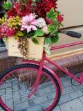 Foto de la bicicleta con las flores Foto de archivo libre de regalías