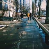 Foto de la calle del invierno Imágenes de archivo libres de regalías