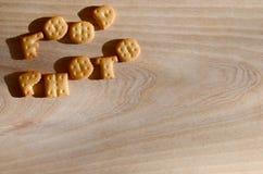 Foto de la comida Letras comestibles Imagenes de archivo