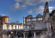 Foto de la fábrica de la materia textil de la demolición Imagen de archivo