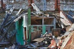 Foto de la fábrica de la materia textil de la demolición Foto de archivo
