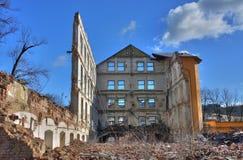 Foto de la fábrica de la materia textil de la demolición Fotos de archivo libres de regalías