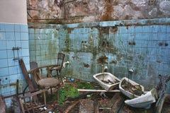 Foto de la fábrica de la materia textil de la demolición Imágenes de archivo libres de regalías