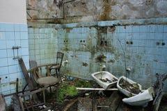 Foto de la fábrica de la materia textil de la demolición Fotografía de archivo