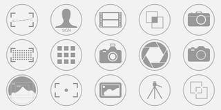 Foto de la fotografía - ejemplos de la cámara digital - y muestra y símbolos fijados iconos de la imagen Vector EPS 10 ilustración del vector