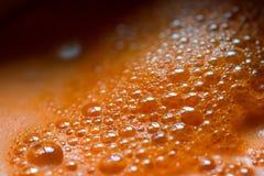 Foto de la macro del jugo de zanahoria Imagen de archivo libre de regalías