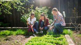 Foto de la madre joven con las hijas que se sientan en el jardín y que toman el cuidado de la cama del jardín Fotografía de archivo