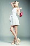Foto de la moda de la mujer magnífica joven Muchacha con el bolso Fotografía de archivo