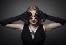 Foto de la moda de la mujer rubia Fotografía de archivo