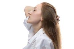 Foto de la mujer con los ojos cerrados, perfil Foto de archivo