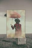 Foto de la mujer joven con la maleta y el paraguas Fotos de archivo