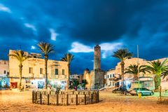 Foto de la noche del castillo del ribat en Sousse Fotografía de archivo