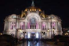 Foto de la noche del palacio de bellas arte Foto de archivo libre de regalías