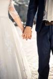 Foto de la novia y del novio que llevan a cabo las manos al aire libre Fotografía de archivo