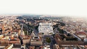 Foto de la opinión aérea del paisaje urbano de Roma Italia de la plaza Venezia y Colosseum Foto de archivo libre de regalías