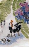 Foto de la pintura china con el gallo y los polluelos Fotos de archivo