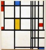 Foto de la pintura original de Piet Mondrian: Composición del ` en rojo, azul, y amarillo ` Imágenes de archivo libres de regalías