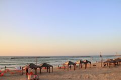 Foto de la playa del teléfono Aviv Mediterranean Imagen de archivo