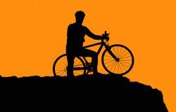 Foto de la silueta del motorista Foto de archivo libre de regalías