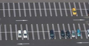 Foto de la visión superior del estacionamiento Fotos de archivo libres de regalías