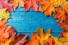 Foto de las hojas de otoño en la tabla azul Imagen de archivo