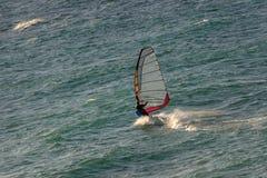 Foto de las ondas del montar a caballo del Windsurfer Foto de archivo libre de regalías