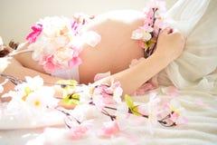 Foto de maternidad de las mujeres que están embarazadas Fotografía de archivo libre de regalías