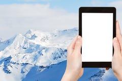 Foto de montanhas da neve na região do esqui de Paradiski fotos de stock royalty free