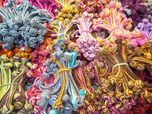 Foto de multi faixas coloridas do cabelo imagem de stock