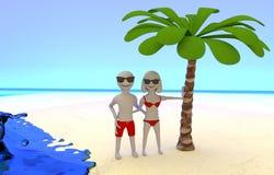 Foto de pares en vacaciones tropicales en la playa Imagen de archivo