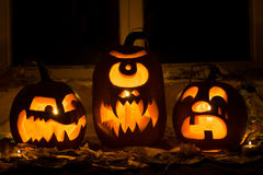 Foto de tres calabazas para Halloween Fotografía de archivo libre de regalías