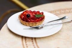 Foto de um bolo do fruto com morangos, hortelã e groselha foto de stock
