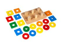 Foto de um brinquedo de madeira fotografia de stock