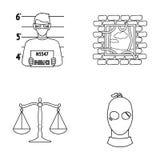 Foto de um criminoso, escape da prisão, escalas de justiça, um ladrão em uma máscara Ícones ajustados da coleção do crime no esbo Fotografia de Stock