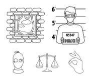 Foto de um criminoso, escape da prisão, escalas de justiça, um ladrão em uma máscara Ícones ajustados da coleção do crime no esbo Imagens de Stock