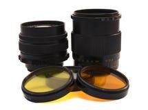 Foto de uma lente e de filtros Imagem de Stock