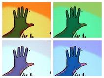 Foto de uma mão em multi quadros da cor fotos de stock