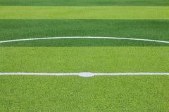Foto de un campo de deportes sintético verde de la hierba con la línea blanca sh Foto de archivo