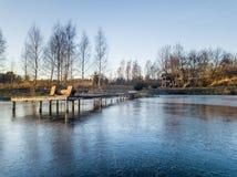 Foto de un lago congelado en un día del otoño Fotografía de archivo libre de regalías