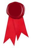 Foto de un sello y de una cinta rojos de la cera. Foto de archivo libre de regalías