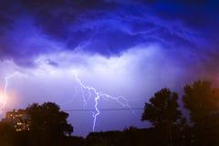 Foto de una tormenta del relámpago Fotos de archivo