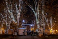 Foto de Zagreb tirada en el tiempo del advenimiento Fotos de archivo libres de regalías