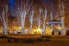 Foto de Zagreb tirada en el tiempo del advenimiento Foto de archivo libre de regalías