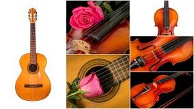 Foto degli strumenti musicali, della chitarra e del violino Immagini Stock Libere da Diritti