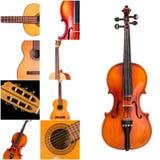 Foto degli strumenti musicali, della chitarra e del violino Immagini Stock