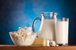 Foto dei prodotti lattiero-caseari. Fotografie Stock