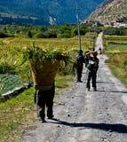 Foto dei viaggiatori con zaino e sacco a pelo Fotografia Stock
