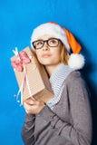 Foto del Año Nuevo de la muchacha linda Foto de archivo libre de regalías