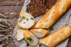 Foto del baguette y del pan Foto de archivo libre de regalías